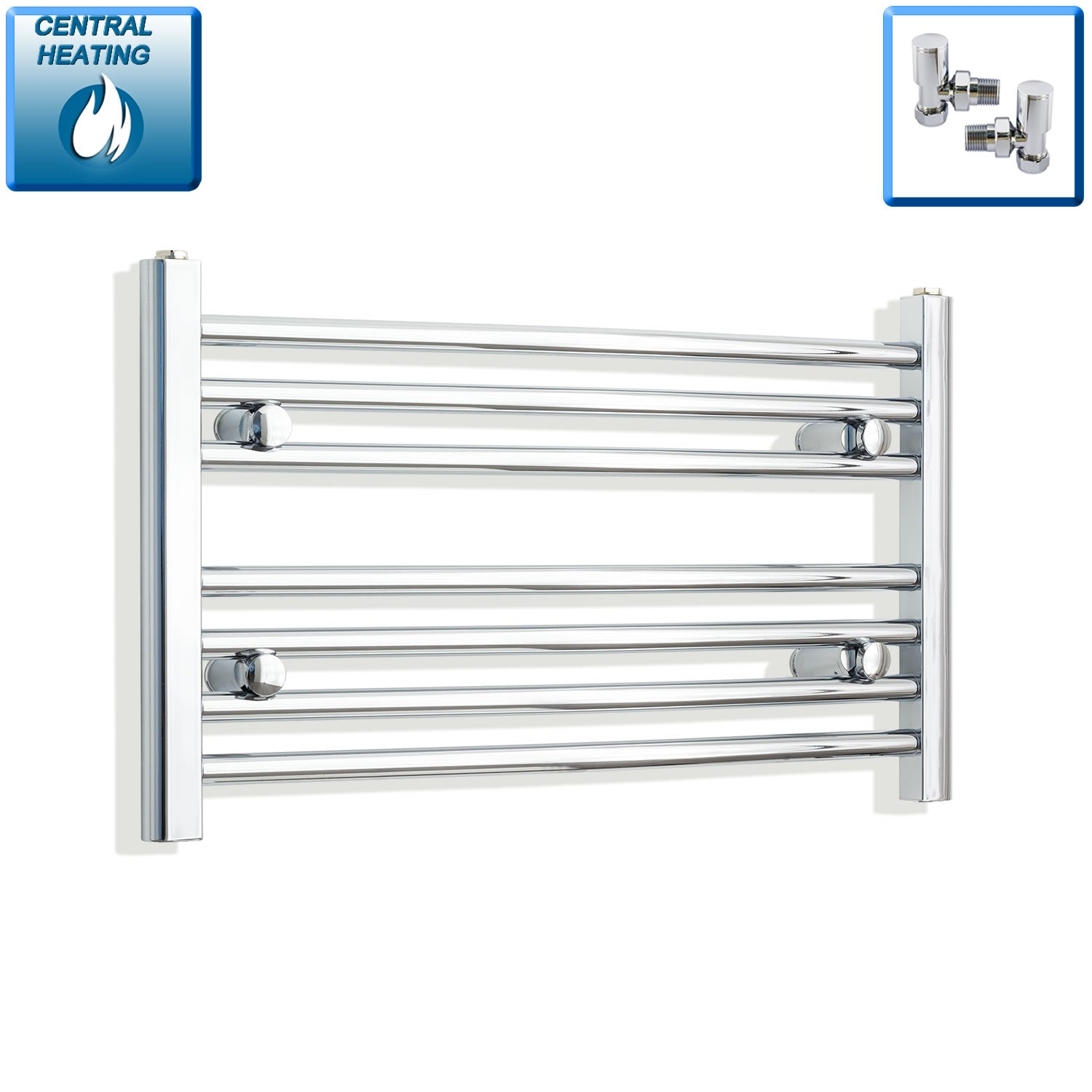700mm Wide 400mm High Chrome Towel Rail Radiator With Angled Valve