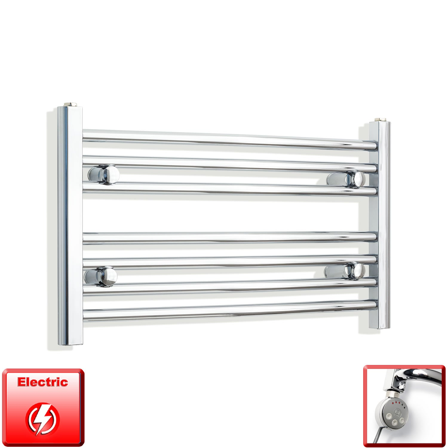 400mm High 700mm Wide Pre-Filled Electric Heated Towel Rail Radiator Curved or Straight Chrome