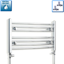 Load image into Gallery viewer, 700mm Wide 400mm High Chrome Towel Rail Radiator With Straight Valve