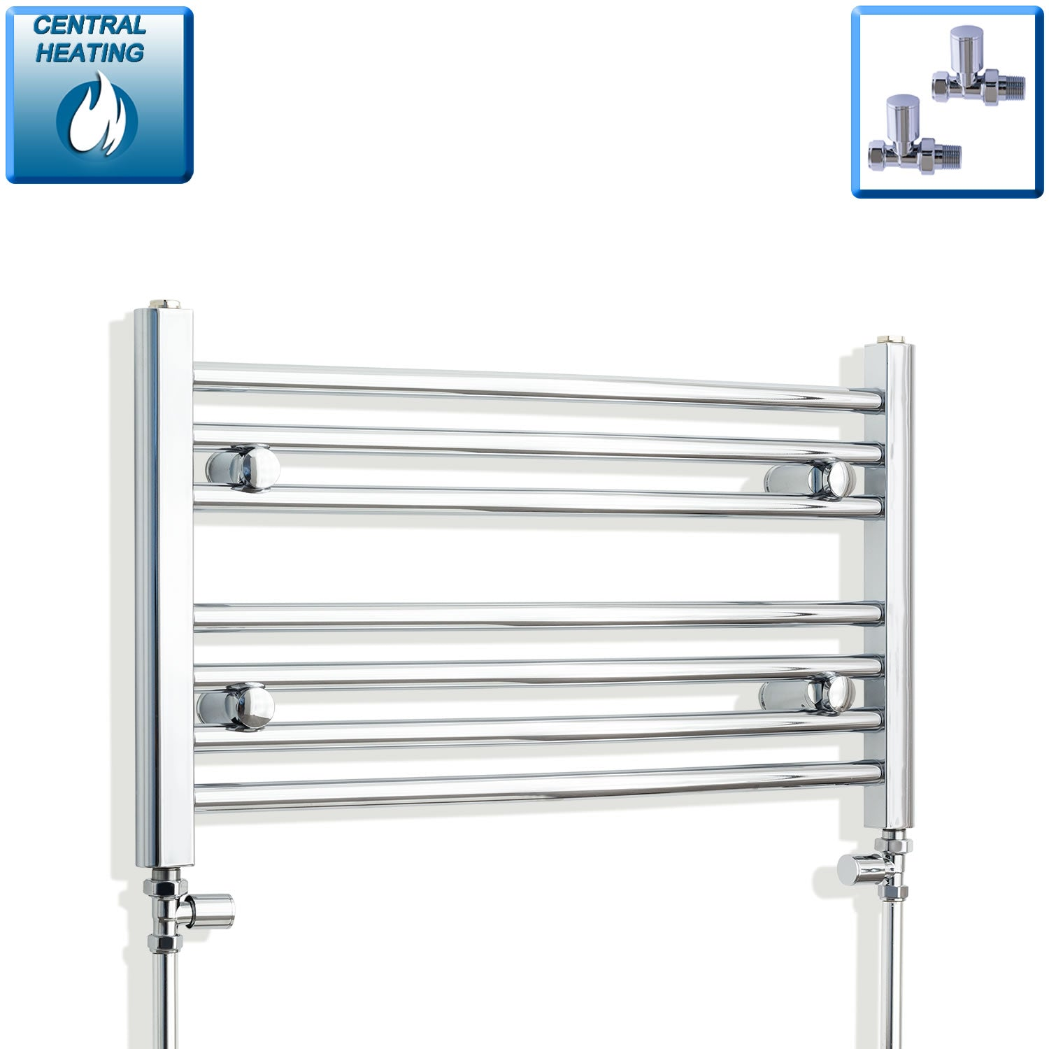 750mm x 400mm High Curved Chrome Towel Rail Radiator With Straight Valve