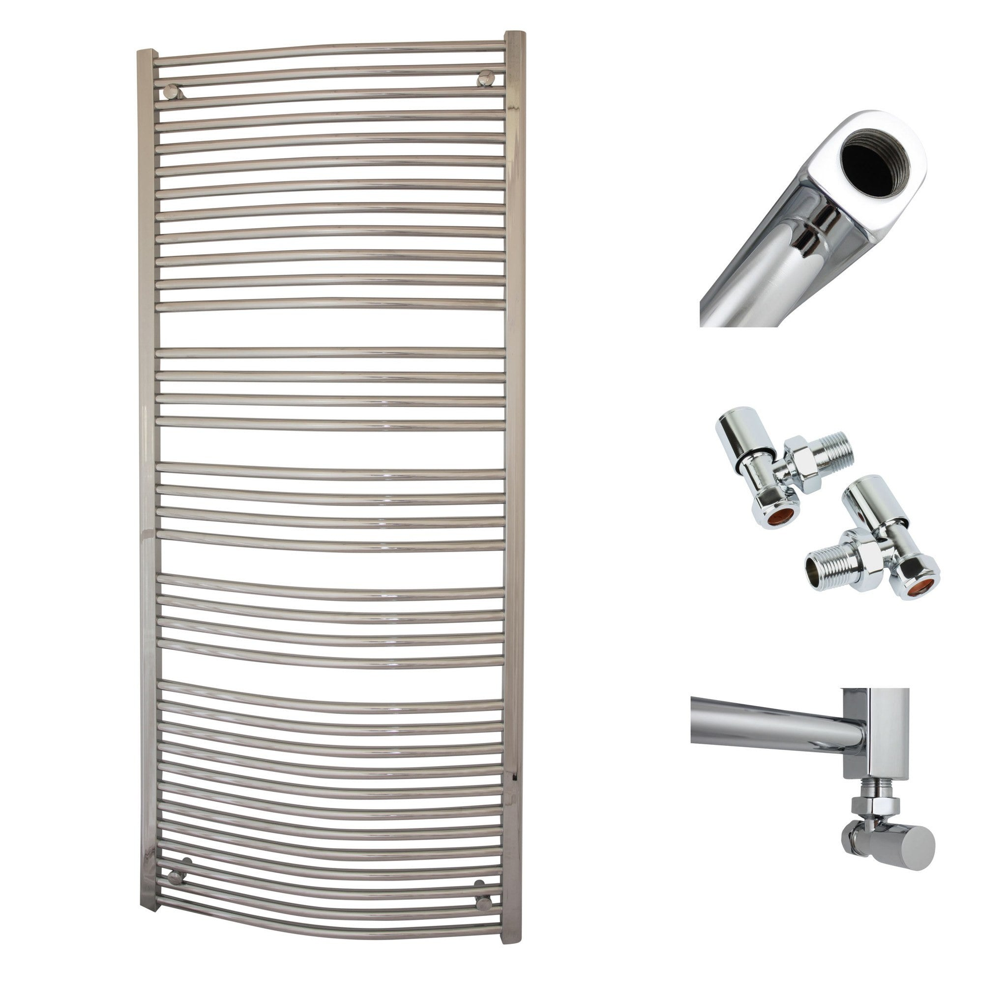 750mm x 1800mm High Curved Chrome Towel Rail Radiator With Angled Valve
