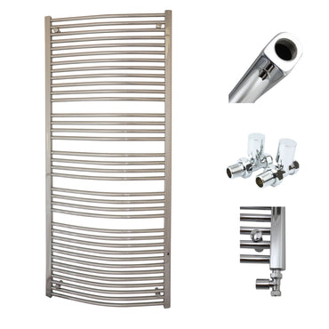 750mm x 1800mm High Curved Chrome Towel Rail Radiator With Straight Valve