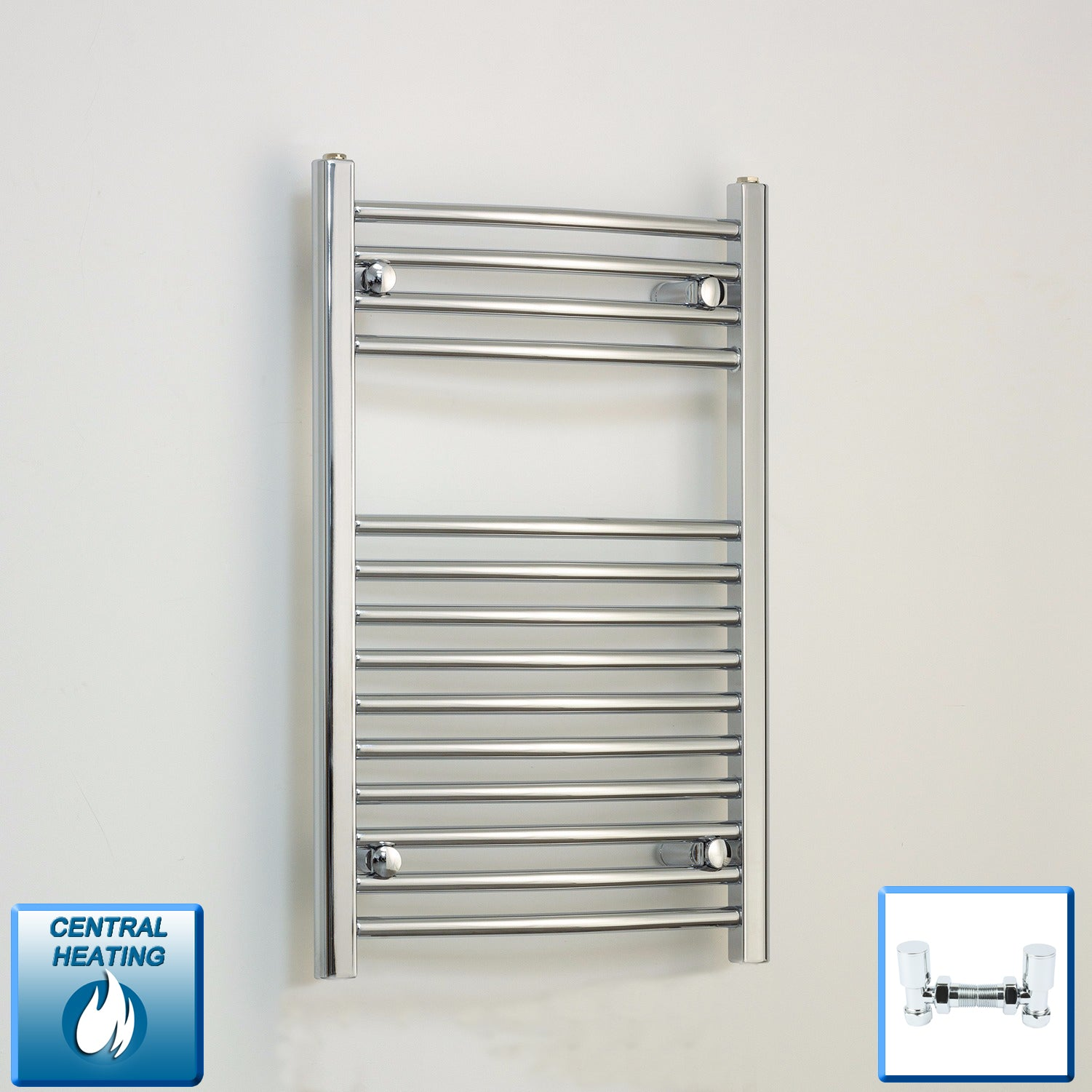 500mm Wide 800mm High Chrome Towel Rail Radiator With Angled Valve