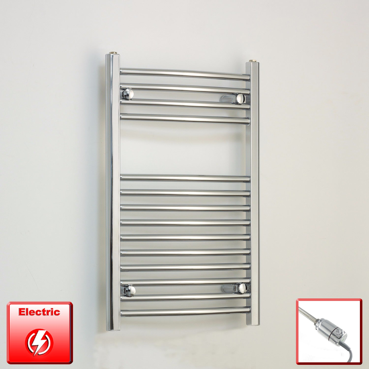 500mm Wide 800mm High Pre-Filled Chrome Electric Towel Rail Radiator With Thermostatic GT Element
