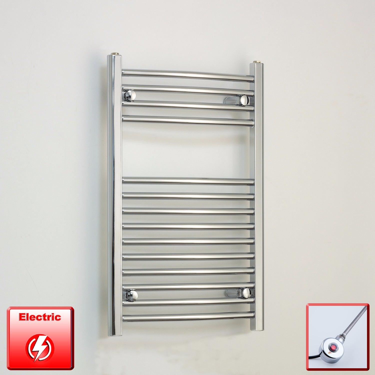 500mm Wide 800mm High Pre-Filled Chrome Electric Towel Rail Radiator With Ecoradco on off Single Heat Element