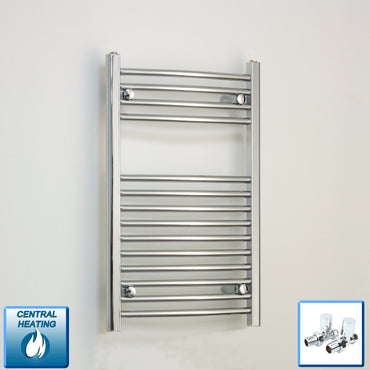 400mm Wide 800mm High Curved Chrome Towel Rail Radiator With Straight Valve
