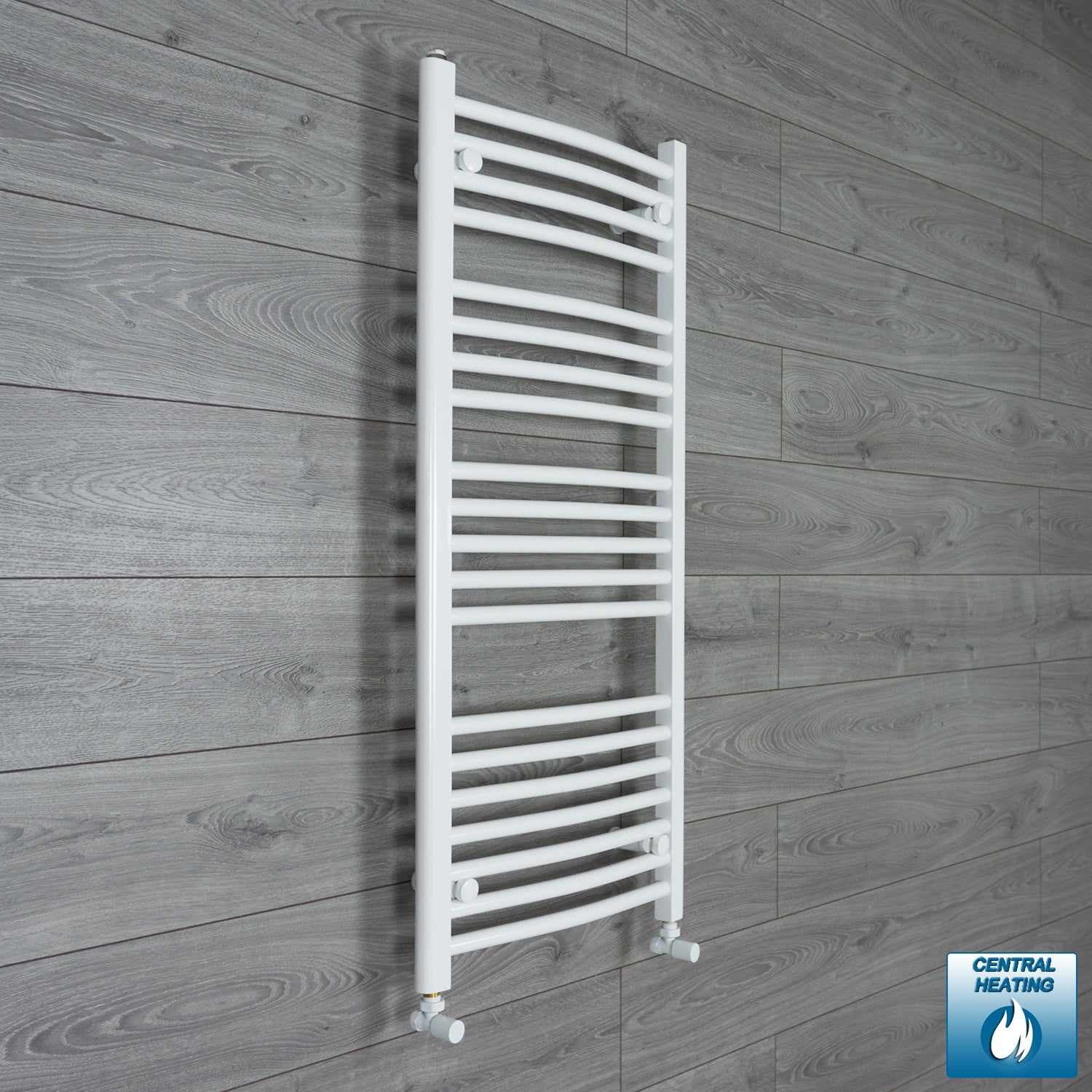 500mm Wide 1100mm High White Towel Rail Radiator With Angled Valve