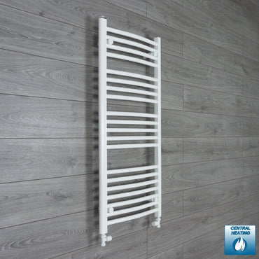 500mm Wide 1100mm High White Towel Rail Radiator With Straight Valve