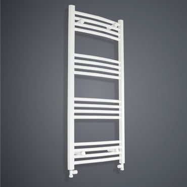 1100 mm High x 600 mm Wide Heated Towel Rail Radiator Curved White - Elegant Radiators