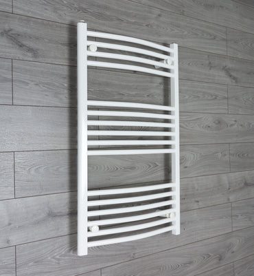 1000 mm High 500 mm Wide Heated Curved Towel Rail Radiator White Central heating or Electric