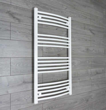 1100 mm High 600 mm Wide Heated Curved Towel Rail Radiator White Central heating or Electric