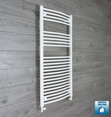 1200 mm High 500 mm Wide Heated Curved Towel Rail Radiator White Central heating or Electric