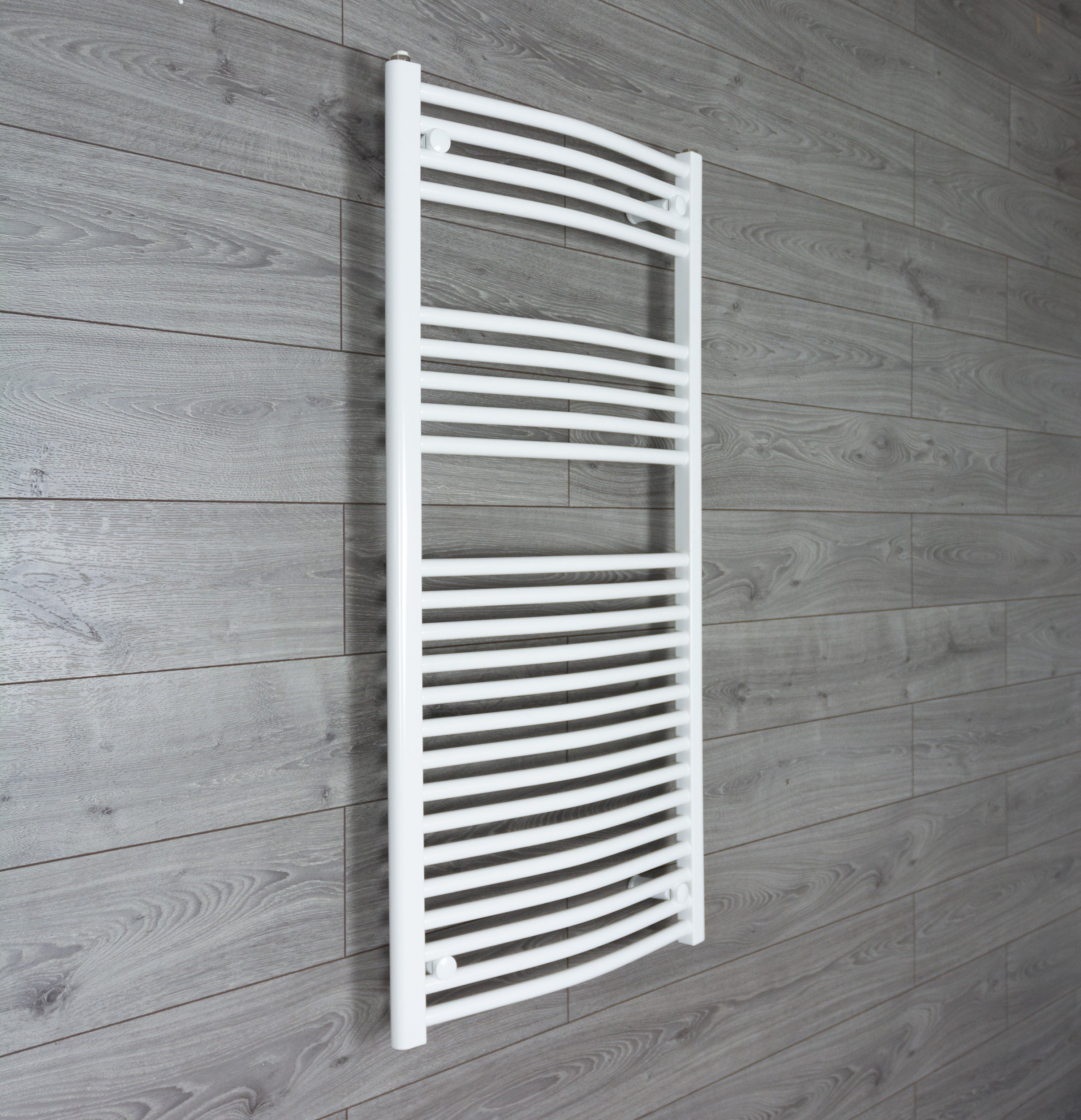 1200 mm High 600 mm Wide Heated Curved Towel Rail Radiator White Central heating or Electric