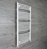 1300 mm High x 750 mm Wide Straight White Heated Towel Rail Radiator angled valves