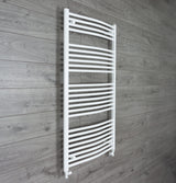1300 mm High x 750 mm Wide Straight White Heated Towel Rail Radiator straight valves
