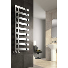 Load image into Gallery viewer, Reina Designer Capelli Vertical Polished Heated Towel Rail Stainless Steel Radiator