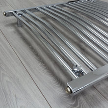 Load image into Gallery viewer, Heated Curved Chrome Towel Warmer Rack Close Up Image