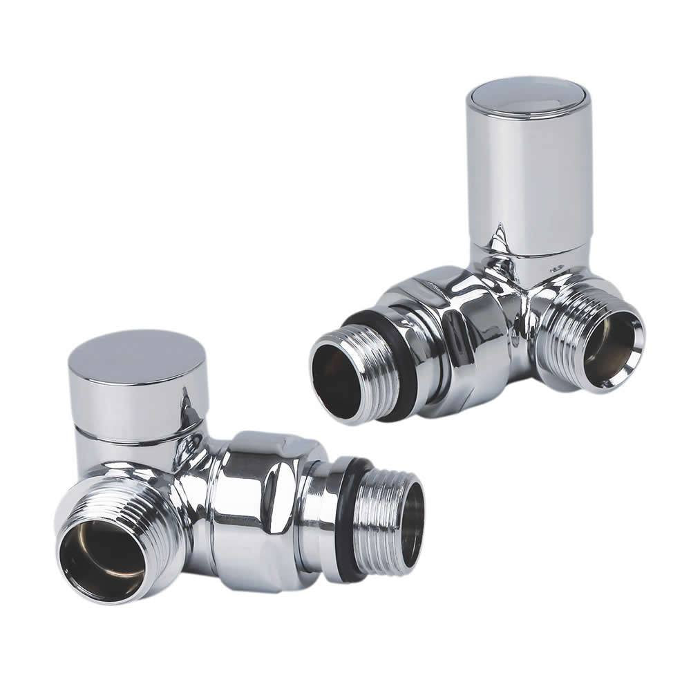 Corner Valve Chrome Plated for Heated Towel Rail Radiator Pair - Elegant Radiators