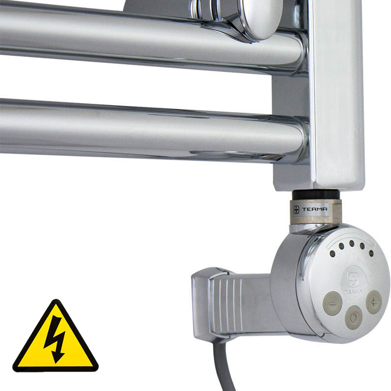 Chrome Thermostatic Heating Element - MEG For Heated Towel Rail Radiator