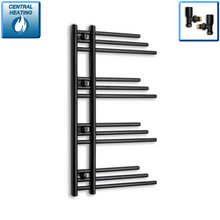 Load image into Gallery viewer, 500mm Wide 900mm High Black Towel Rail Radiator With Angled Valve