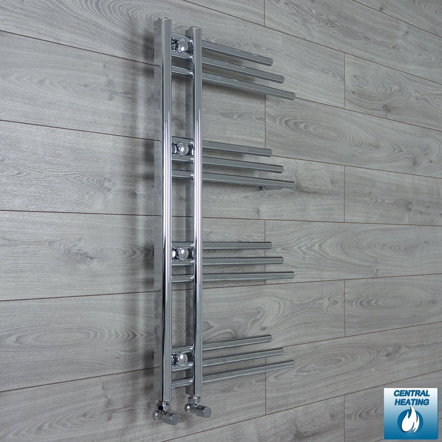 500mm Wide 900mm High Chrome Towel Rail Radiator With Angled Valve