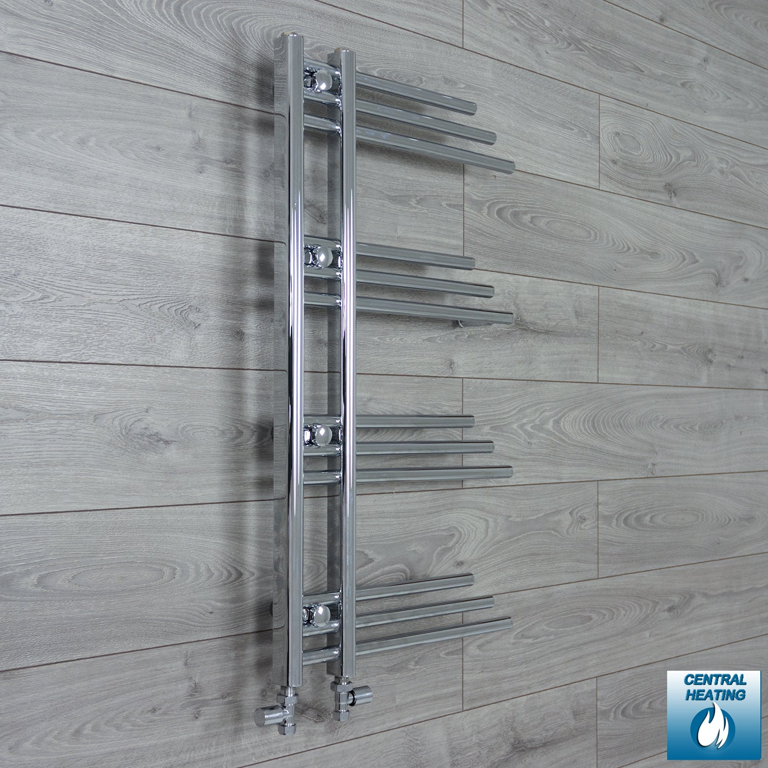 500mm Wide 900mm High Chrome Towel Rail Radiator With Straight Valve