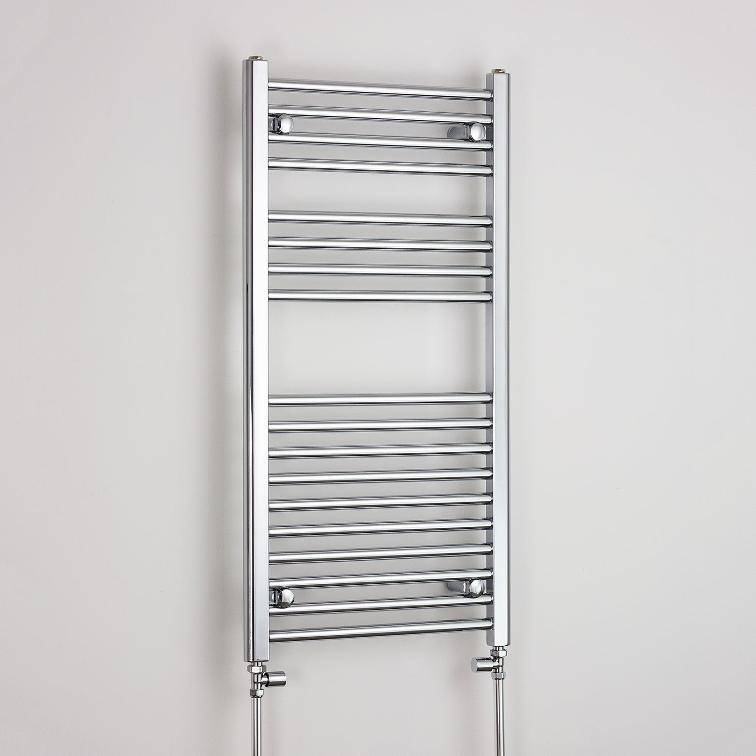 500mm Wide 1000mm High Chrome Towel Rail Radiator With Straight Valve