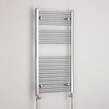600mm Wide 1000mm High Chrome Towel Rail Radiator With Straight Valve