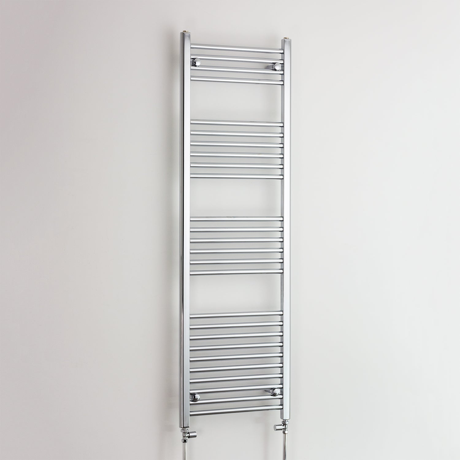 400mm Wide 1600mm High Chrome Towel Rail Radiator With Straight Valve