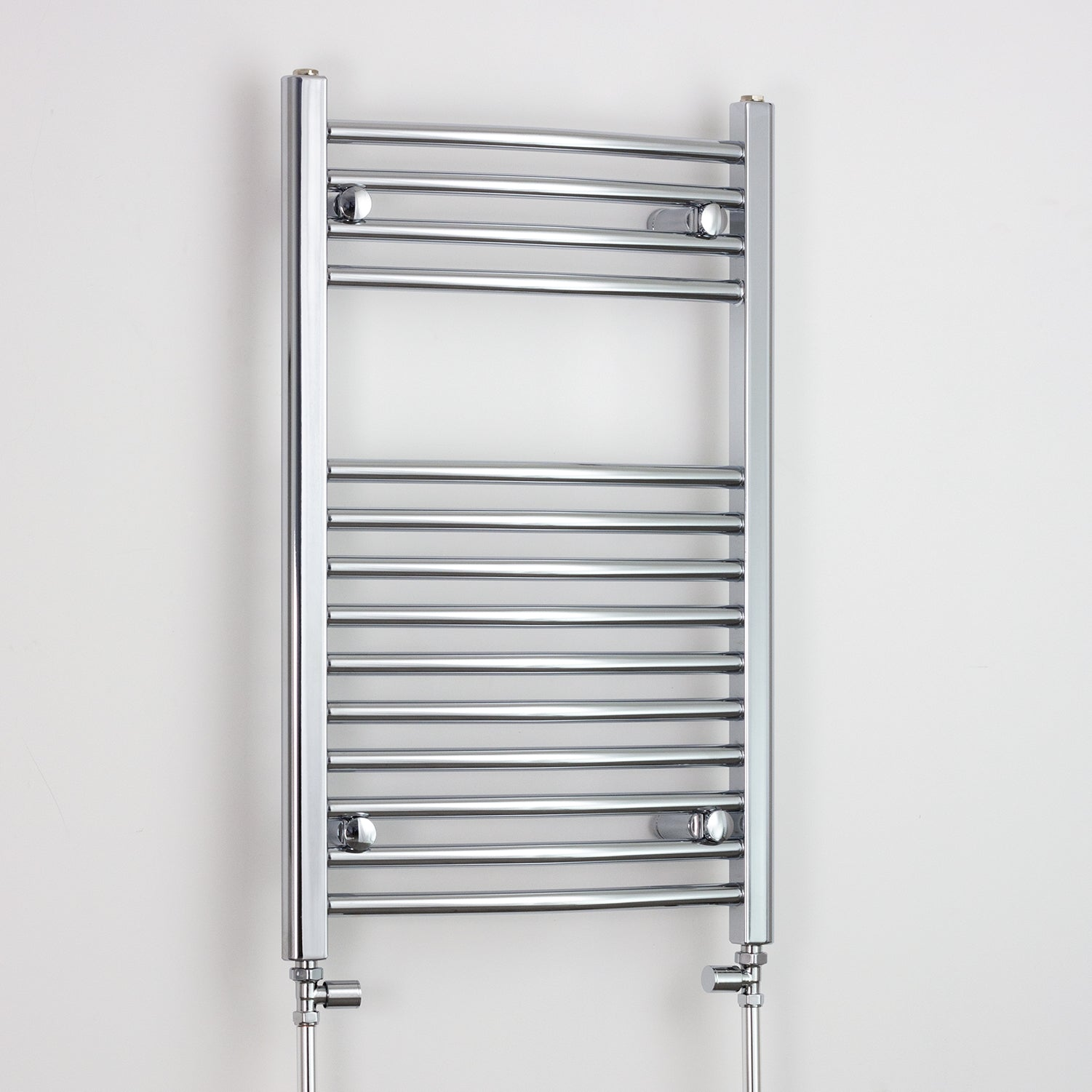 600mm Wide 800mm High Chrome Towel Rail Radiator With Straight Valve