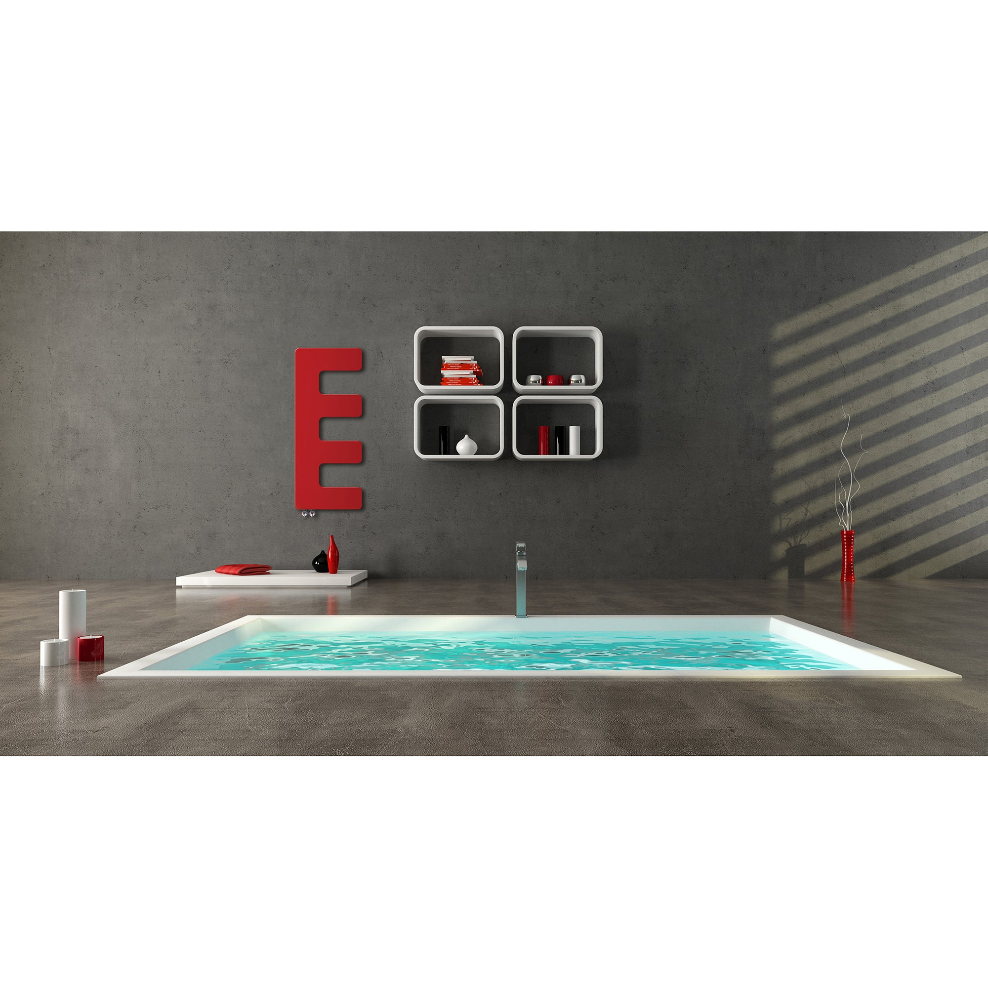 Designer E-Type Style 866 mm High x 360 mm Wide Heated Towel Rail Radiator Red - Elegant Radiators