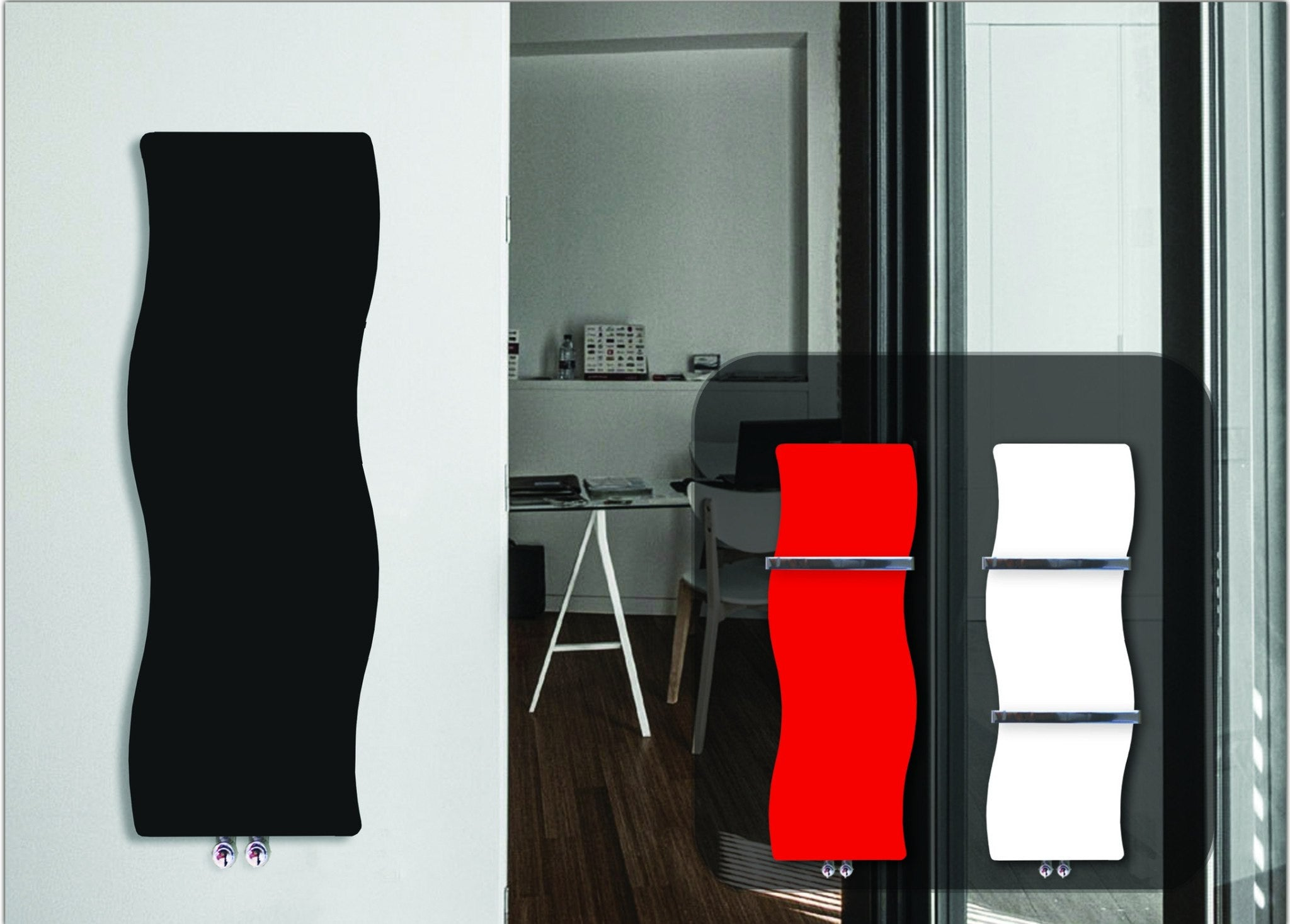 Designer Wave Style 1200 mm High x 350 mm Wide Heated Towel Rail Radiator Black - Elegant Radiators