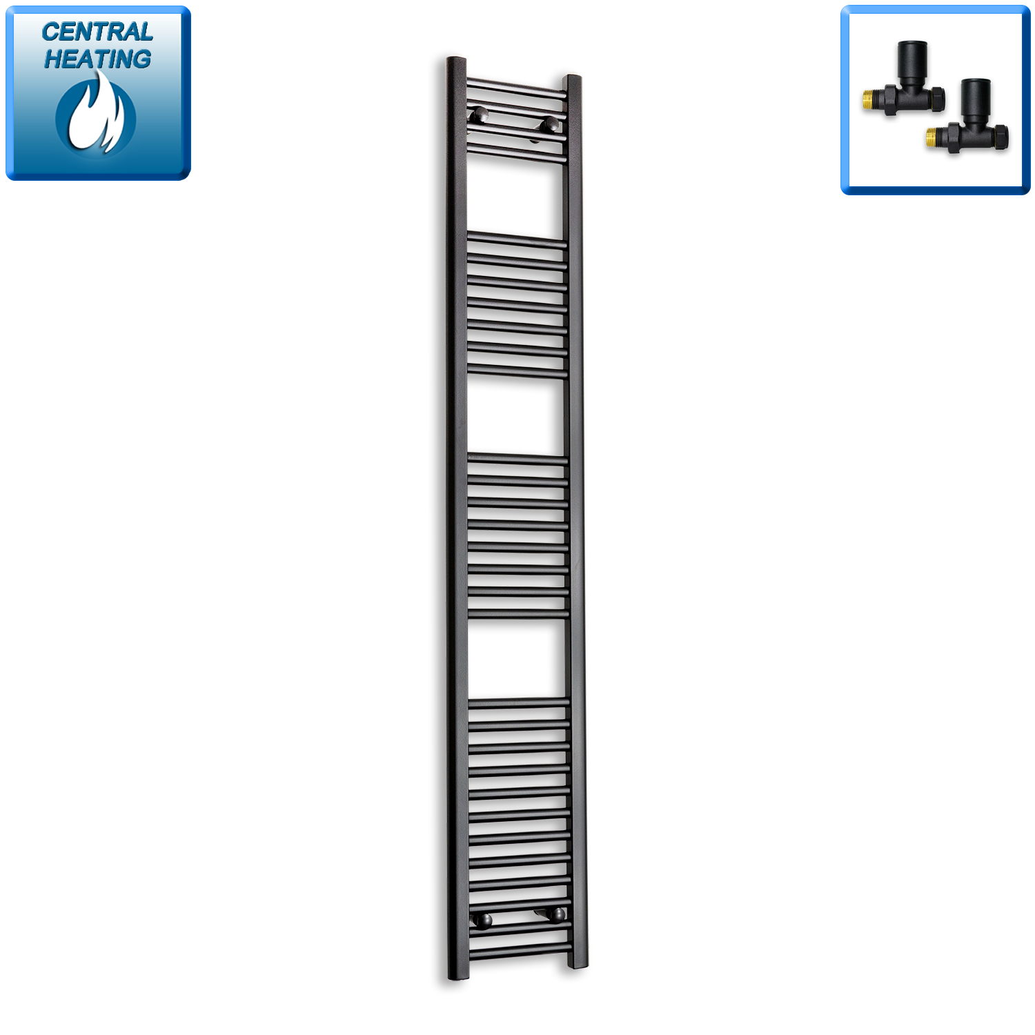 300mm Wide 1800mm High Black Towel Rail Radiator With Straight Valve