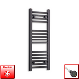 300mm Wide 800mm High Pre-Filled Black Electric Towel Rail Radiator With Thermostatic DIGI Element