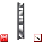 300mm Wide 1400mm High Pre-Filled Black Electric Towel Rail Radiator With Thermostatic GT Element