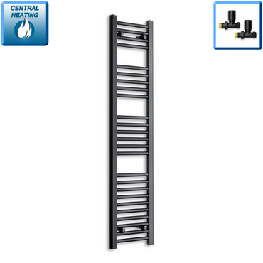 300mm Wide 1400mm High Black Towel Rail Radiator With Straight Valve