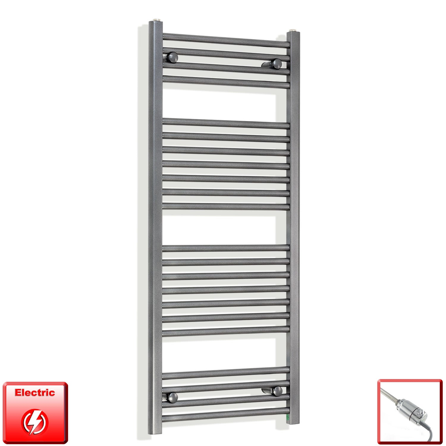 1200 mm High 500 mm Wide Heated Flat Towel Rail Radiator Anthracite  Electric Prefilled with thermostatic heating element