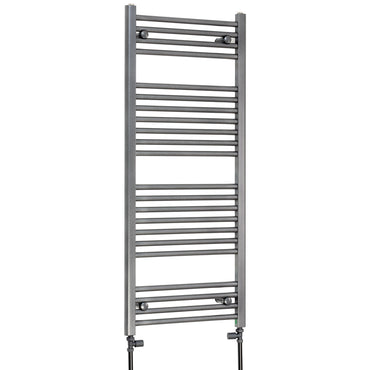1200 mm High 500 mm Wide Heated Flat Towel Rail Radiator Anthracite Central heating with straight inline valves