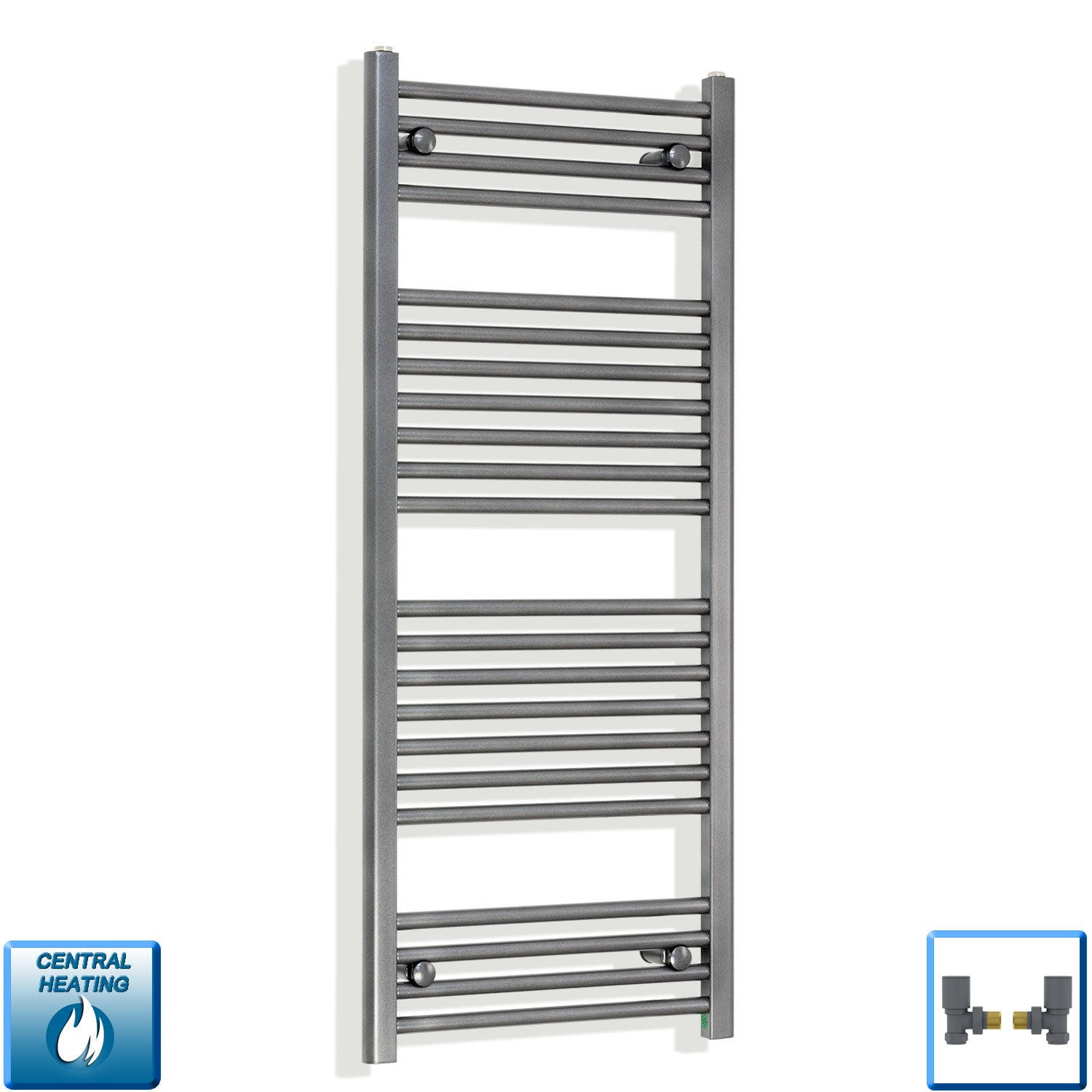 1200 mm High 500 mm Wide Heated Flat Towel Rail Radiator Anthracite Central heating with angled valves