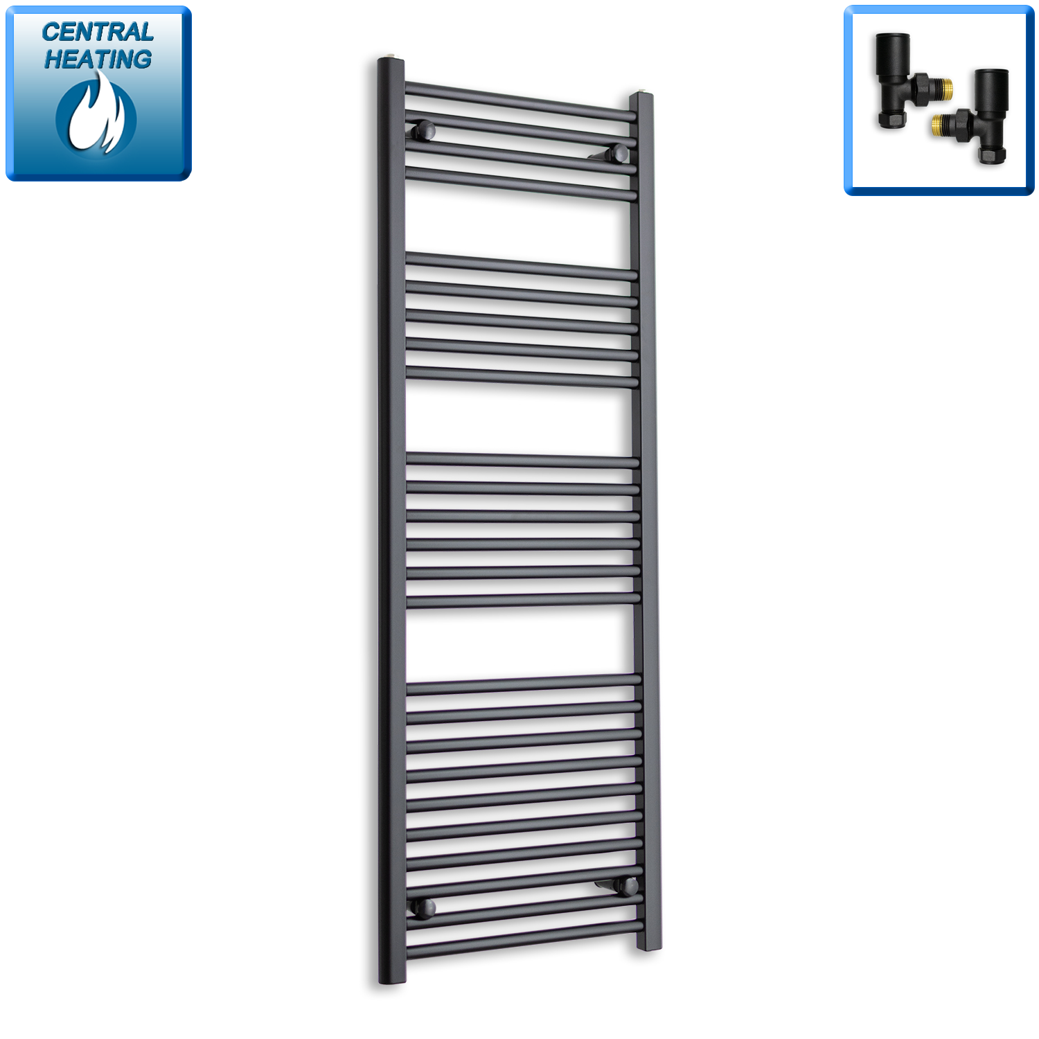 500mm Wide 1400mm High Black Towel Rail Radiator With Angled Valve