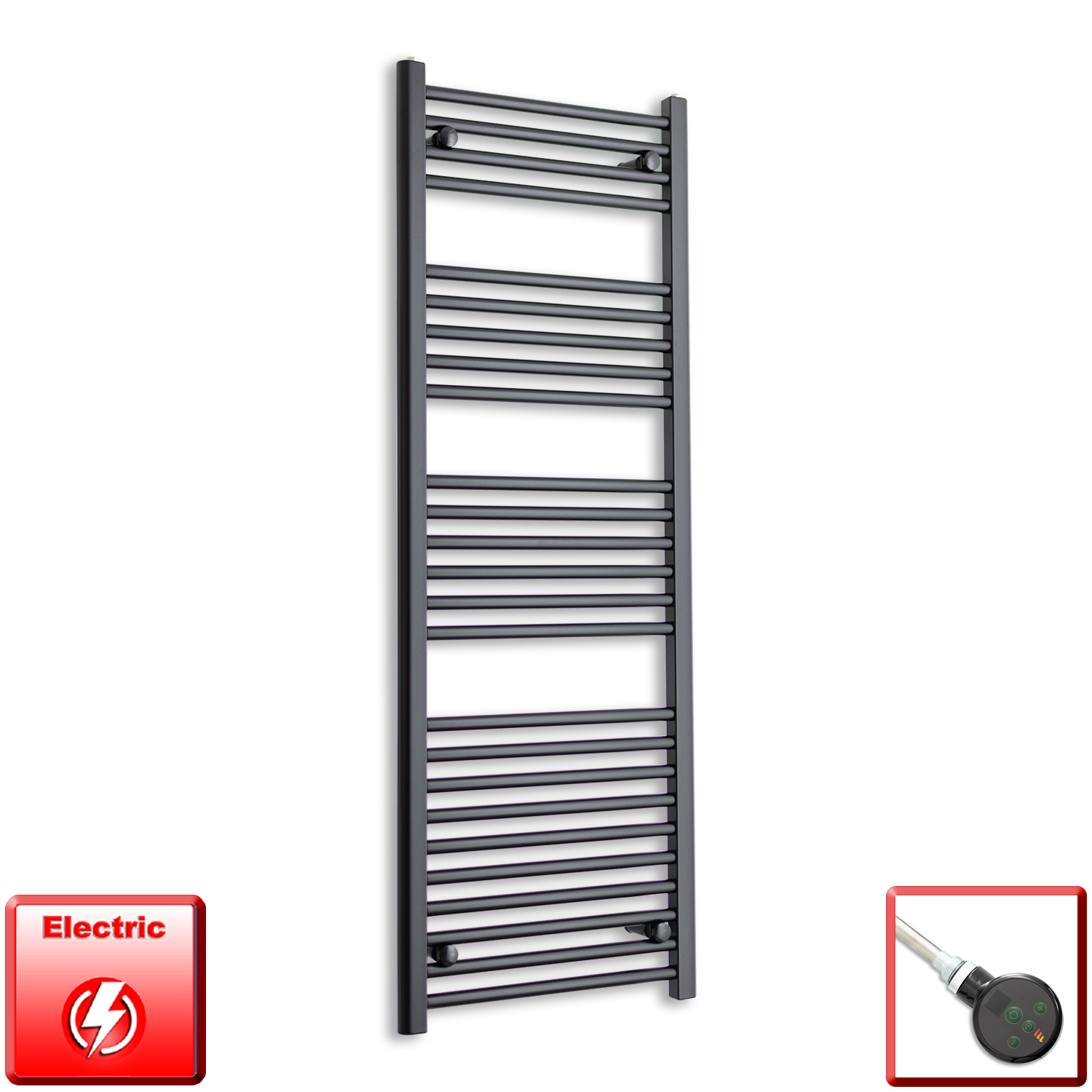 600mm Wide 1400mm High Pre-Filled Black Electric Towel Rail Radiator With Thermostatic MEG Element450mm Wide 1400mm High Pre-Filled Black Electric Towel Rail Radiator With Thermostatic DIGI Element