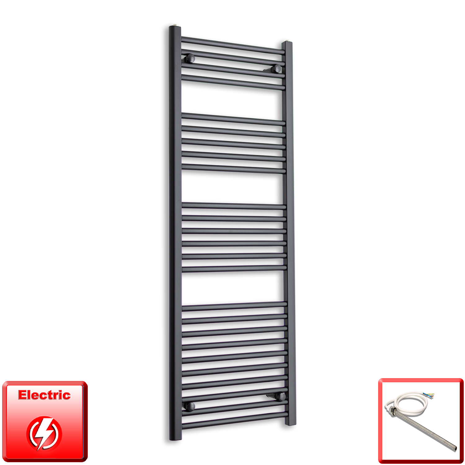 500mm Wide 1200mm High Pre-Filled Black Electric Towel Rail Radiator With Single Heat Element