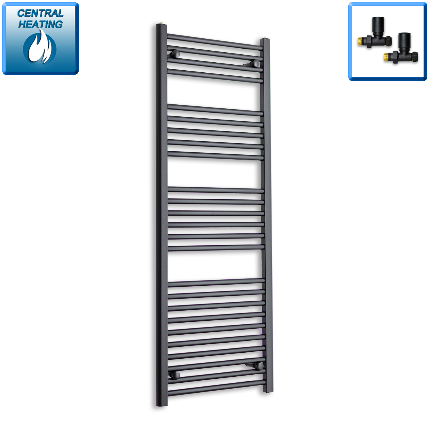500mm Wide 1400mm High Black Towel Rail Radiator With Straight Valve