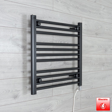 600mm High 600mm Wide Flat Black Pre-Filled Electric Heated Towel Rail Radiator HTR