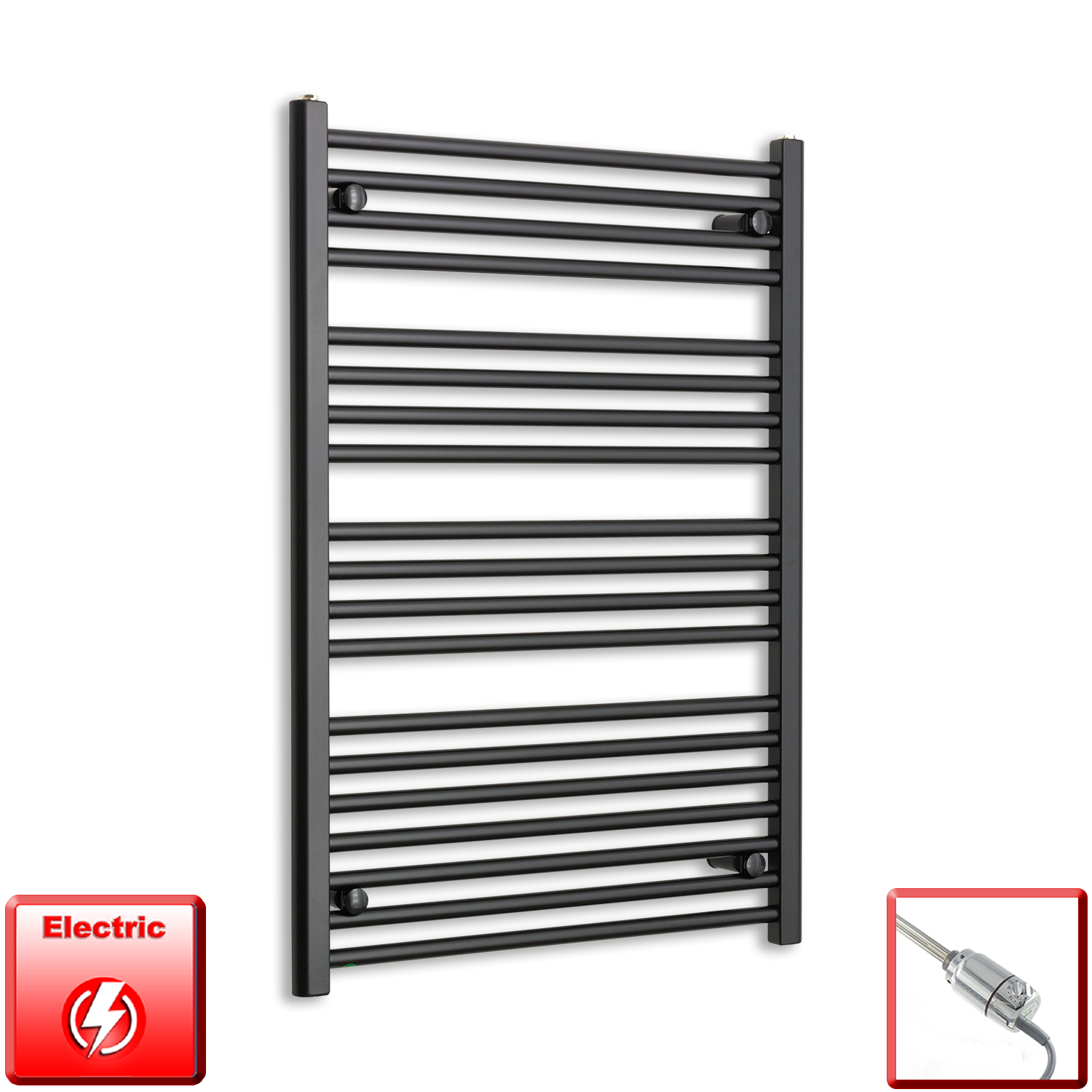 700mm Wide 1000mm High Pre-Filled Black Electric Towel Rail Radiator With Thermostatic GT Element