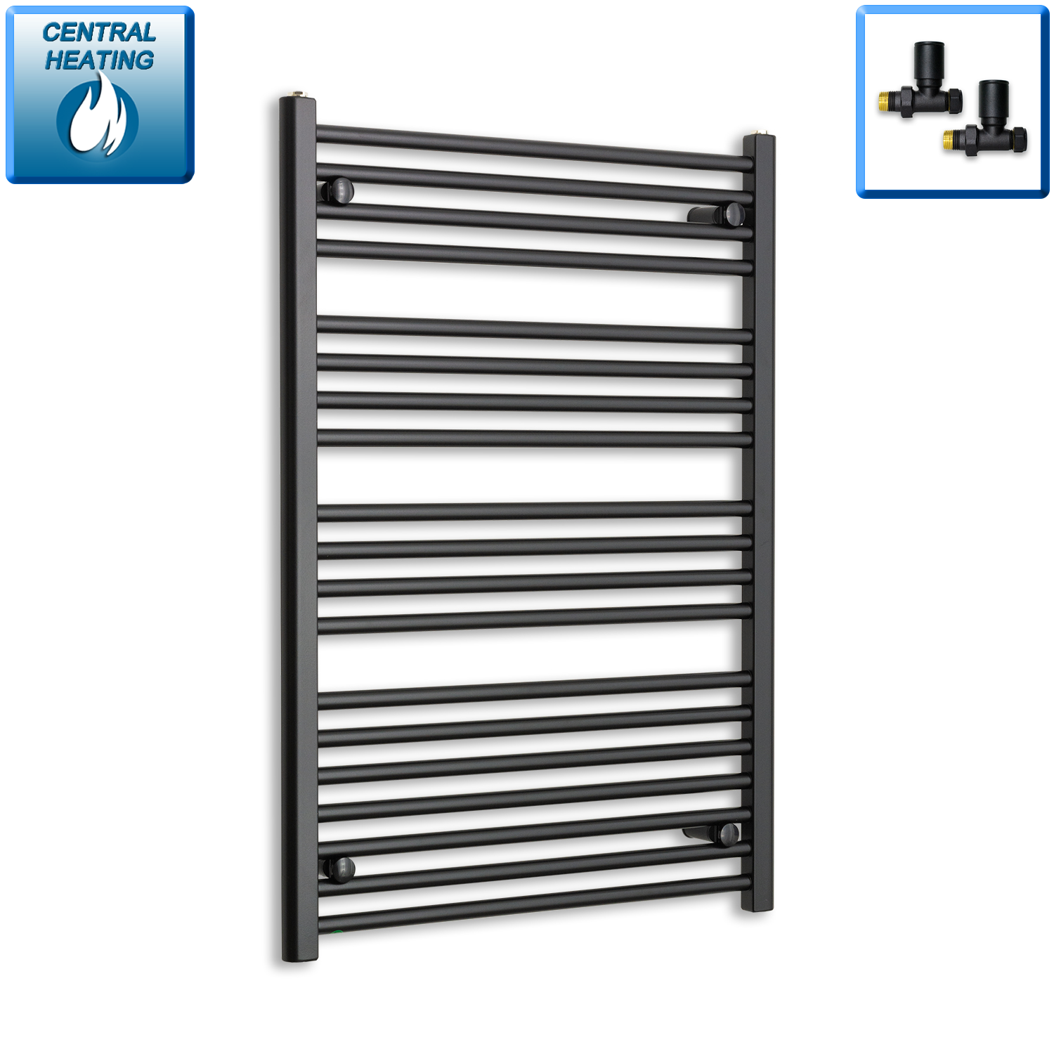 700mm Wide 1000mmHigh Black Towel Rail Radiator With Straight Valve