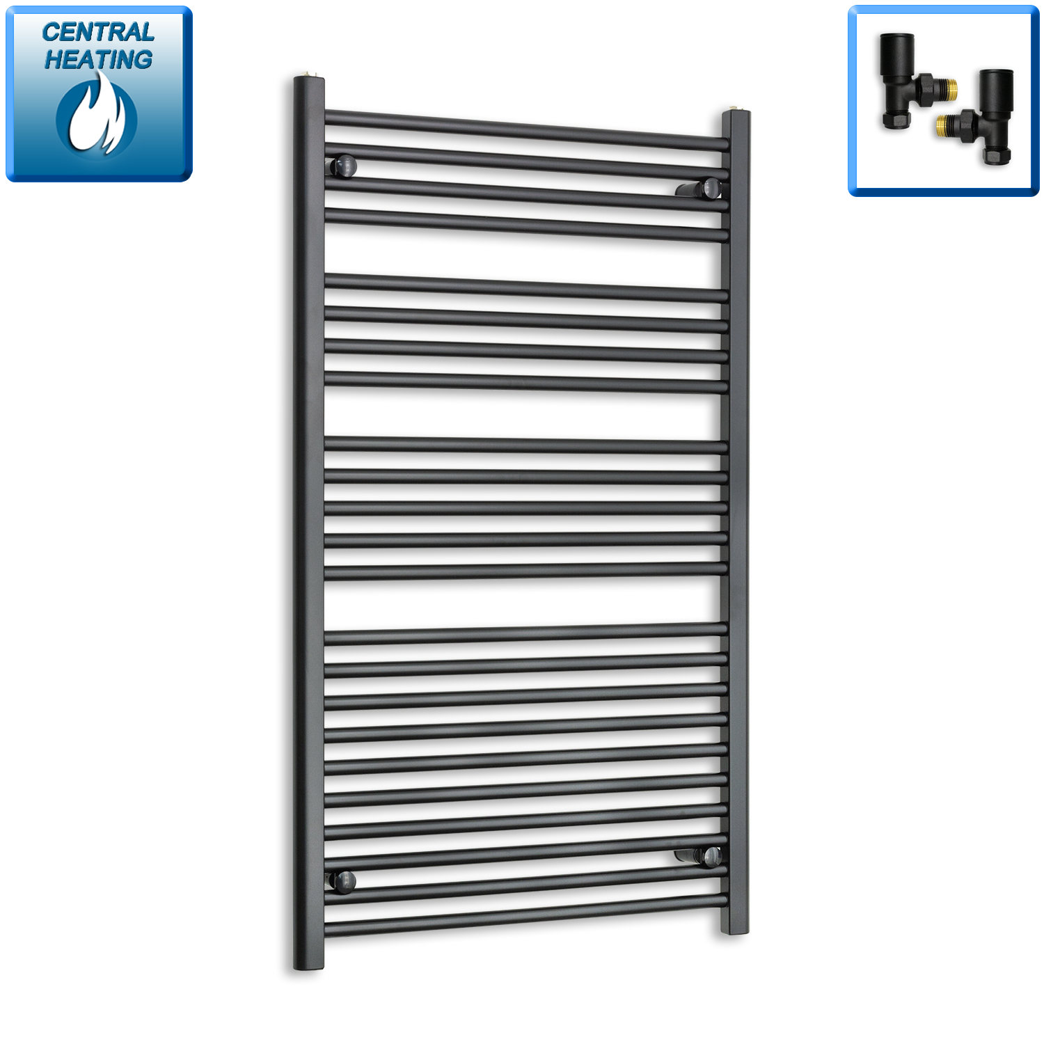 700mm Wide 1200mm High Black Towel Rail Radiator With Angled Valve