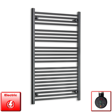 700mm Wide 1200mm High Pre-Filled Black Electric Towel Rail Radiator With Thermostatic eco digi Element