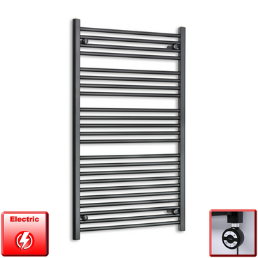 700mm Wide 1200mm High Pre-Filled Black Electric Towel Rail Radiator With Thermostatic MEG Element