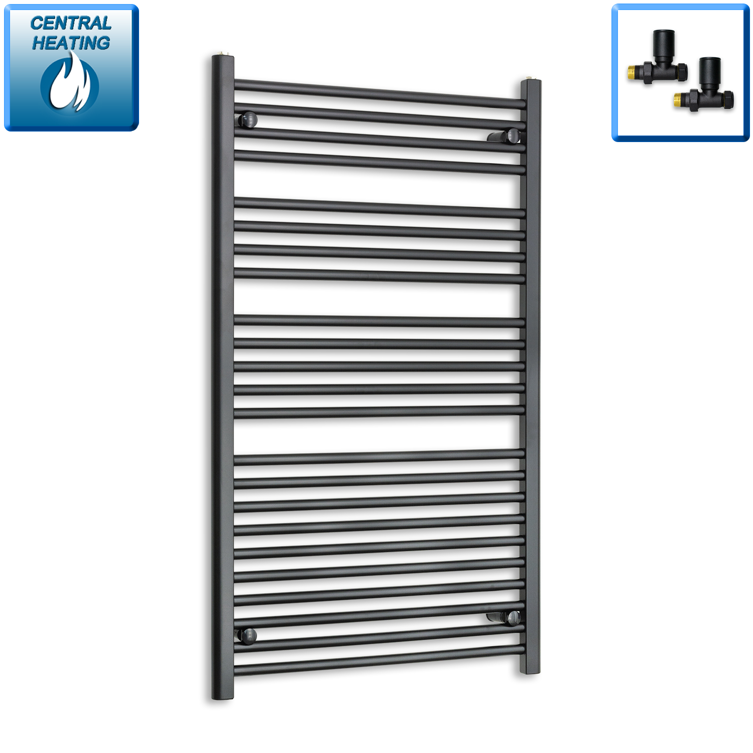 700mm Wide 1200mm High Black Towel Rail Radiator With Straight Valve